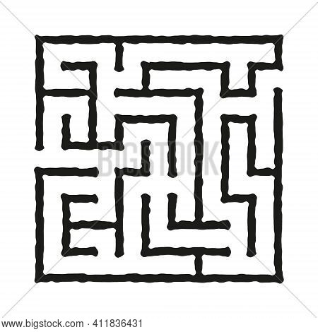 Black Square Rough Vector Maze Isolated On White Background. Easy Labyrinth With One Entrance And On