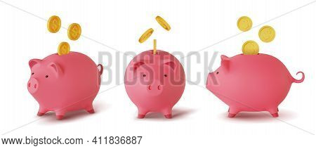 Set 3d Realistic Moneybox In The Form Of A Pig And Coins Falling, Isolated On White Background, Vect