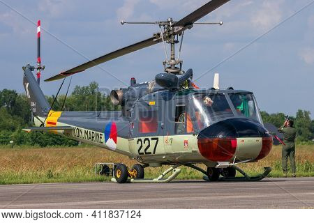 Volkel, The Netherlands - Jun 15, 2013: Historical Dutch Navy Uh-1b Huey Helicopter On Display At Th