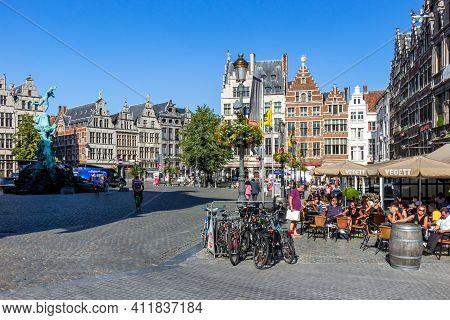 Antwerp, Belgium - Jul 9, 2013: Grote Markt Square In The Historical Centre Of Antwerp.