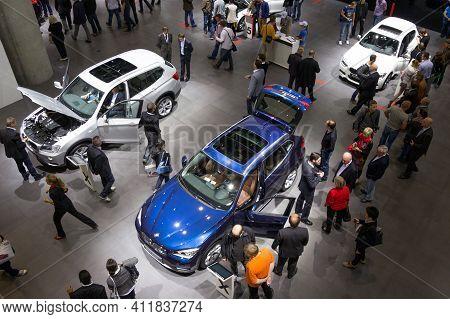 Frankfurt, Germany - Sep 13, 2013: Trade Show Visitors At The New Bmw Car Models Showcased At The Fr