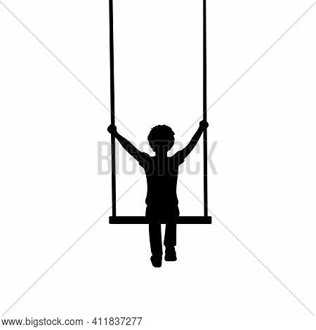 Silhouette Little Boy Sitting On Swing Behind. Illustration Graphics Icon Vector