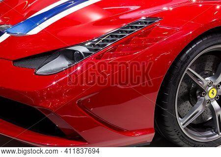Frankfurt, Germany - Sep 13, 2013: Ferrari 458 Speciale Sports Car At The Frankfurt Iaa Motor Show.