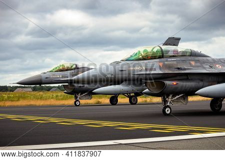 Schleswig-jagel, Germany - Jun 23, 2014: Two Turkish Air Force F-16 Fighter Jets From 192filo During