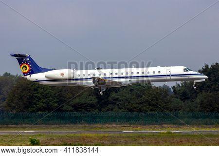 Belgian Air Force Embraer Erj-145lr Passenger Plane Landing At Kleine-brogel Airbase. Belgium - Sept