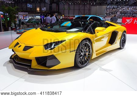Geneva, Switzerland - March 4, 2015: Hamann Lamborghini Aventador Roadster At The 85th International