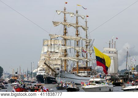 Amsterdam, Netherlands - August 19, 2015: Colombian Navy Tall Ship Arc Gloria Among Others In The No