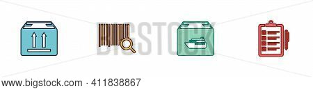 Set Cardboard Box With Traffic, Search Barcode, Cargo Ship Boxes And Verification Of Delivery List I