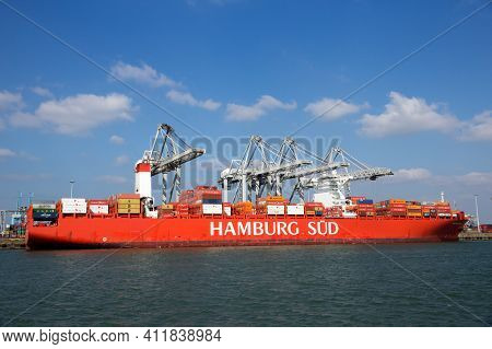 Rotterdam, Netherlands - Mar 16, 2016: Container Ship Cap San Lorenzo From Hamburg Sud Moored At A C