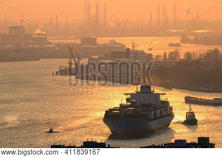 Rotterdam, Netherlands - Mar 16, 2016: Maersk Container Ship On The Meuse River In The Port Of Rotte