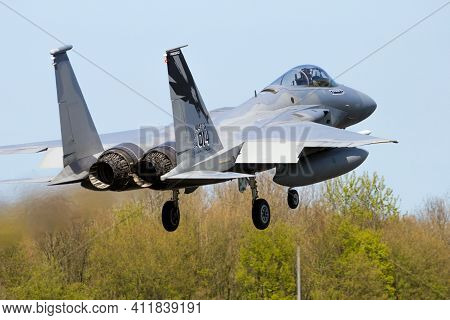 Leeuwarden, Netherlands - Apr 21, 2016: 144th Fighter Wing California Air National Guard F-15c Eagle