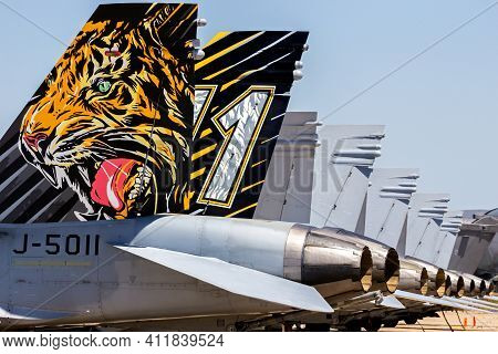 Zaragoza, Spain - May 20,2016: Special Painted Fighter Jet Tail On A F-18 Hornet Fighter Jet Between