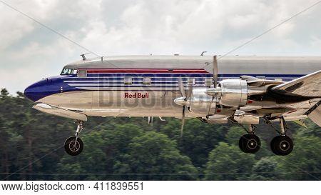 Berlin, Germany - June 2, 2016: Douglas Dc-6b Vintage Plane From The Flying Bulls Landing On Berlin-