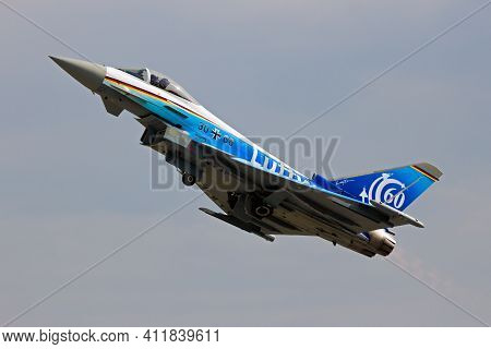 Berlin - Jun 2, 2016: Special Painted German Air Force Eurofighter Typhoon In A Flying Display At Th