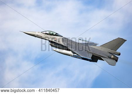 Modern Military Air Force Fighter Jet In Flight