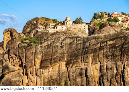 Meteora Rock Mountains And Monastery In The Pindos Mountains, Greece
