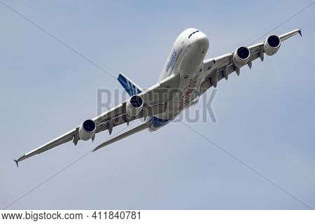 Airbus A380 Passenger Plane Flying During The Paris Air Show. France- June 22, 2017
