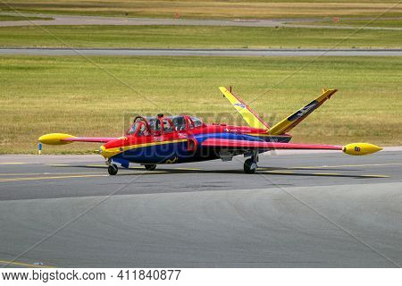 Paris, France - Jun 22, 2017: Former French Air Force Fouga Cm.170 Magister Trainer Jet Aircraft At