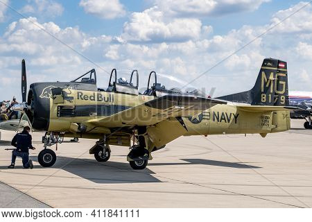 Berlin, Germany - Apr 27, 2018: Vintage Former Us Navy North American T-28 Trojan Plane From The Fly
