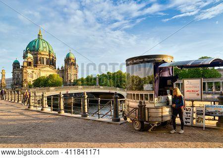Berlin, Germany - Apr 27, 2018: Berliner Dom Along The Spree River In Berlin City Centre, Germany.
