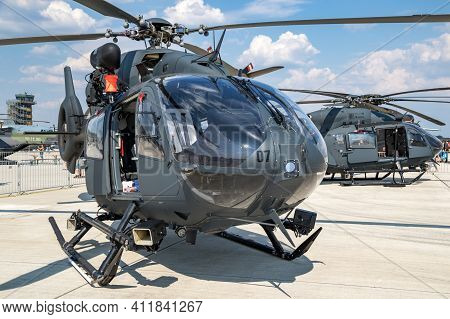 German Air Force Airbus H145m Military Utility Helicopters On The Tarmac Of Wunstorf Airbase. German