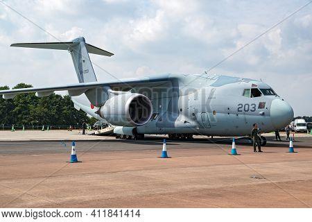 Japanese Self-defense Force Kawasaki C-2 Transport Aircraft On The Tarmac Of Raf Fairford Airbase. J