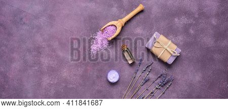 Cosmetic Body Care Products With Lavender. Lavender Sea Salt, Essential Oil, Lavender Soap, Moisturi