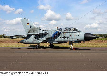 Kleine Brogel, Belgium - Sep 8, 2018: German Air Force Panavia Tornado Military Fighter Jet Plane On