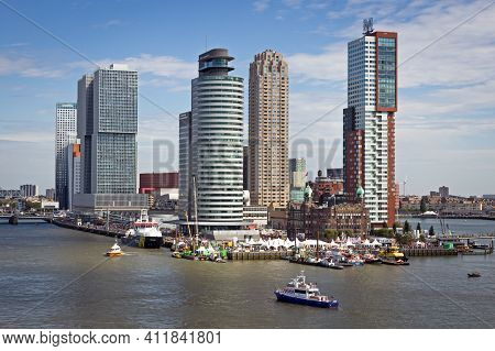 View On Rotterdam City Highrise And The Erasmus Bridge In The Kop Van Zuid Neighorhood During The Wo