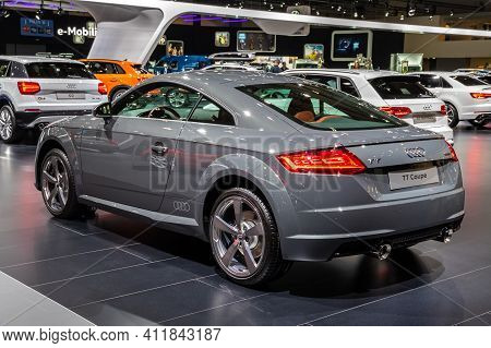 Audi Tt Coupe Car Showcased At The Brussels Autosalon Motor Show. Belgium - January 18, 2019.