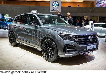 Volkswagen Touareg Car Showcased At The Brussels Autosalon Motor Show. Belgium - January 18, 2019.