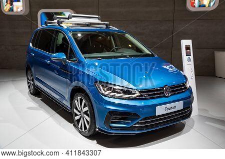 Volkswagen Touran Car Showcased At The Brussels Autosalon Motor Show. Belgium - January 18, 2019.