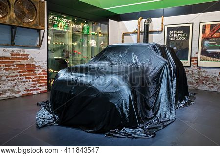 New Mini Cooper Car Veiled At The Brussels Autosalon Motor Show. Belgium - January 18, 2019.