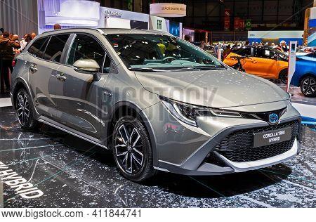 Toyota Corolla Trek Hybrid Car At The 89th Geneva International Motor Show. Geneva, Switzerland - Ma