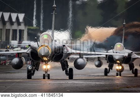 French Air Force Dassault Rafale Fighter Jets Taxiing To The Runway At Mont-de-marsan Airbase. Franc