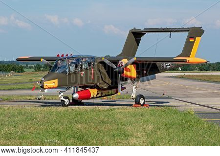 Former German Air Force North American Rockwell Ov-10 Bronco Observation Plane At Nordholz Airbase.
