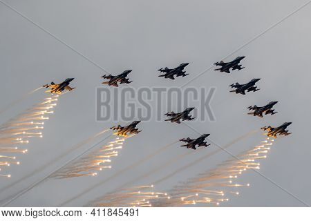 Volkel, Netherlands - Jun 15, 2019: Formation Of Royal Netherlands Air Force F-16 Fighter Jet Planes