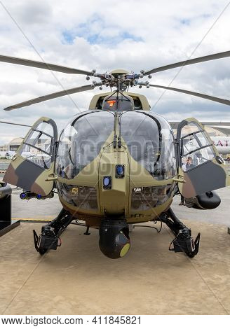 Serbian Army Airbus H145m Battle Support Helicopter At The Paris Air Show. France - June 20, 2019