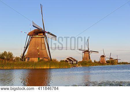 Traditional Windmills At Kinderdijk, Zuid-holland, The Netherlands