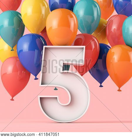 Happy 5th Birthday Background With Colourful Balloons. 3d Rendering