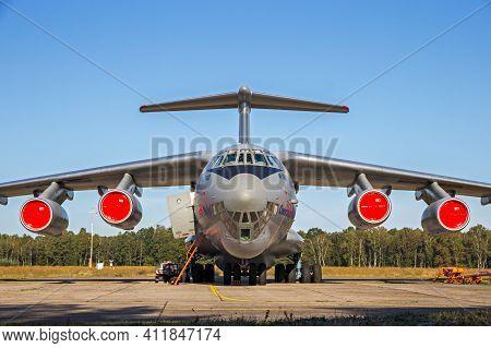 Ukrainian Air Force Ilyushin Il-76 Transport Plane In The Tarmac Of Kleine-brogel Airbase. Belgium -