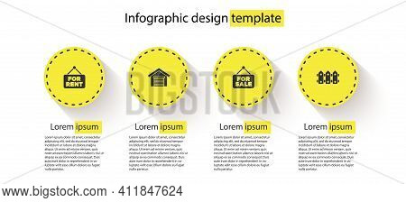 Set Hanging Sign With For Rent, Garage, Sale And Garden Fence Wooden. Business Infographic Template.