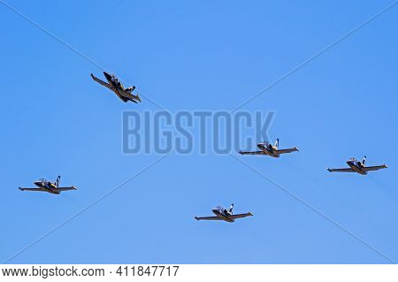Breitling Jet Team Aero L-39 Albatros Planes Formation Flying Over Kleine Brogel Airbase. Belgium -