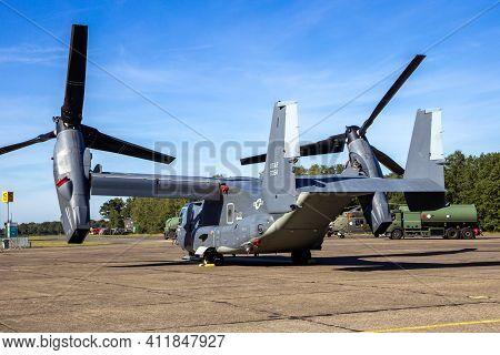 Us Air Force Bell Boeing V-22 Osprey Tiltrotor Plane On The Tarmac Of Kleine-brogel Airbase. Belgium