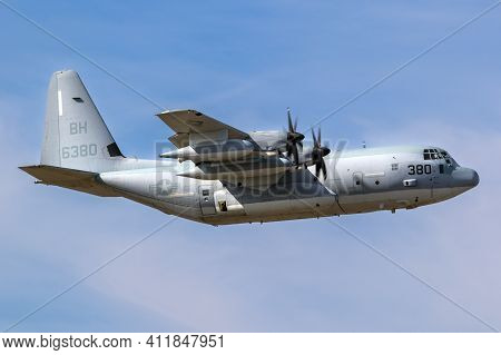 United Stated Marine Corps Kc-130j Hercules From Vmgr-252 In Flight. The Netherlands - September 20,