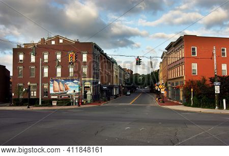NORWALK, CT, USA-OCTOBER 16, 2005:  Washington Street view from bridge with buildings and clouds