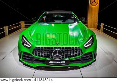 Mercedes-amg Gt R Coupe Sports Car At The Autosalon 2020 Motor Show. Brussels, Belgium - January 9,