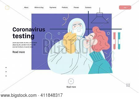 Medical Tests Web Template - Testing For Covid-19 - Modern Flat Vector Illustration Of Coronavirus T