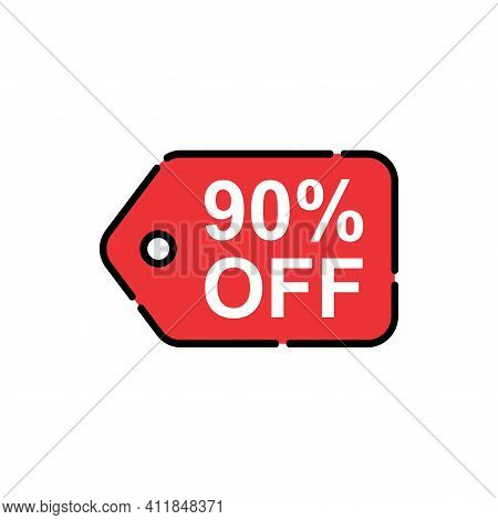 90% Sale Tag Vector Badge Template, 90% Sale Label Collection, Clearance Sale Sticker Emblem, Bargai