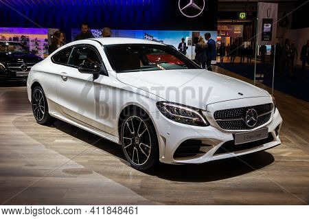 Brussels - Jan 9, 2020: New Mercedes Benz C-class Coupe Car Model Presented At The Brussels Autosalo